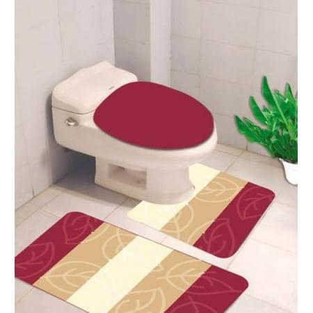 # 4 BURGUNDY 3-Piece LEAVES Bathroom Rug Set, Three (3) Shades Colors Bath Mat  Rug 18