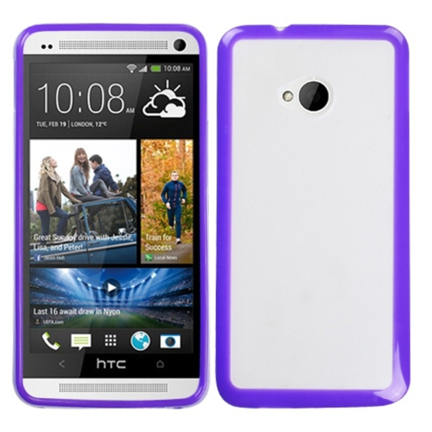 Insten Transparent Clear/Solid Purple Gummy Cover Case for HTC: One/M7
