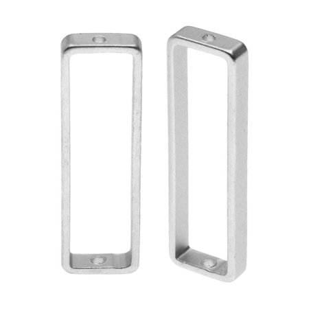 Open Bead Frame, Rectangle with Drilled Through Hole 8x26mm, 2 Pieces, Matte Silver Tone