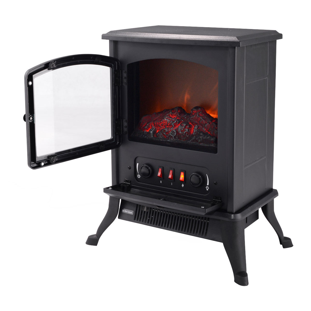 Costway Metal Electric 1000W Fireplace Quartz Tube Heater Fire Flame Stove Adjustaable