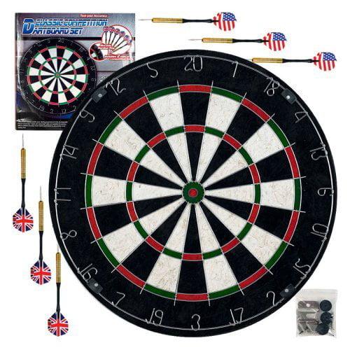 TGT Pro Style Bristle Dart Board Set with 6 Darts & Board