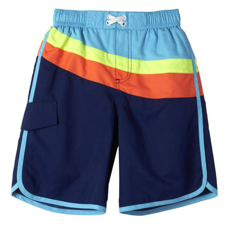 Boys' Retro Color Block Swim Trunk - Boys Retro