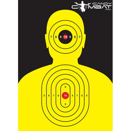 Yellow Man Silhouette Targets Yellow Silhouette Target - Cleverly designed Silhouette Paper Target. The Target is very easy to be sighted in at any distance because of the strategically placed Bulls-Eye Targets on the Body of the Shooting Target. Great to be used for any firearm: 9mm Target, 22 Target, 22LR Target ? Perfect Police Training Target, SWAT Training Target and Military Training Target. Extra-large 13x19 Size. Heavy Duty - Thick Paper. Printed in the USA.