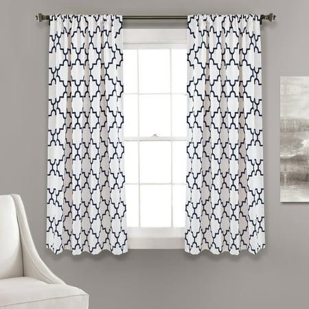 Lush Decor Bellagio Room Darkening Window Curtain Panels Navy Set 52x63