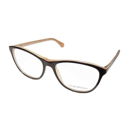 2714854b8dd8 New Emporio Armani 3075 Womens/Ladies Cat Eye Full-Rim Brown Frame Demo  Lenses 54-16-140 Flexible Hinges Eyeglasses/Glasses - Walmart.com