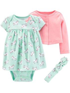 Child Of Mine By Carter's Long Sleeve Cardigan, Headband & Short Sleeve Dress, 3Pc Set (Baby Girls)