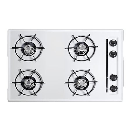 Summit WNL053 30 Four-Burner Gas Cooktop in White (30 Inches Gas Cooktop)