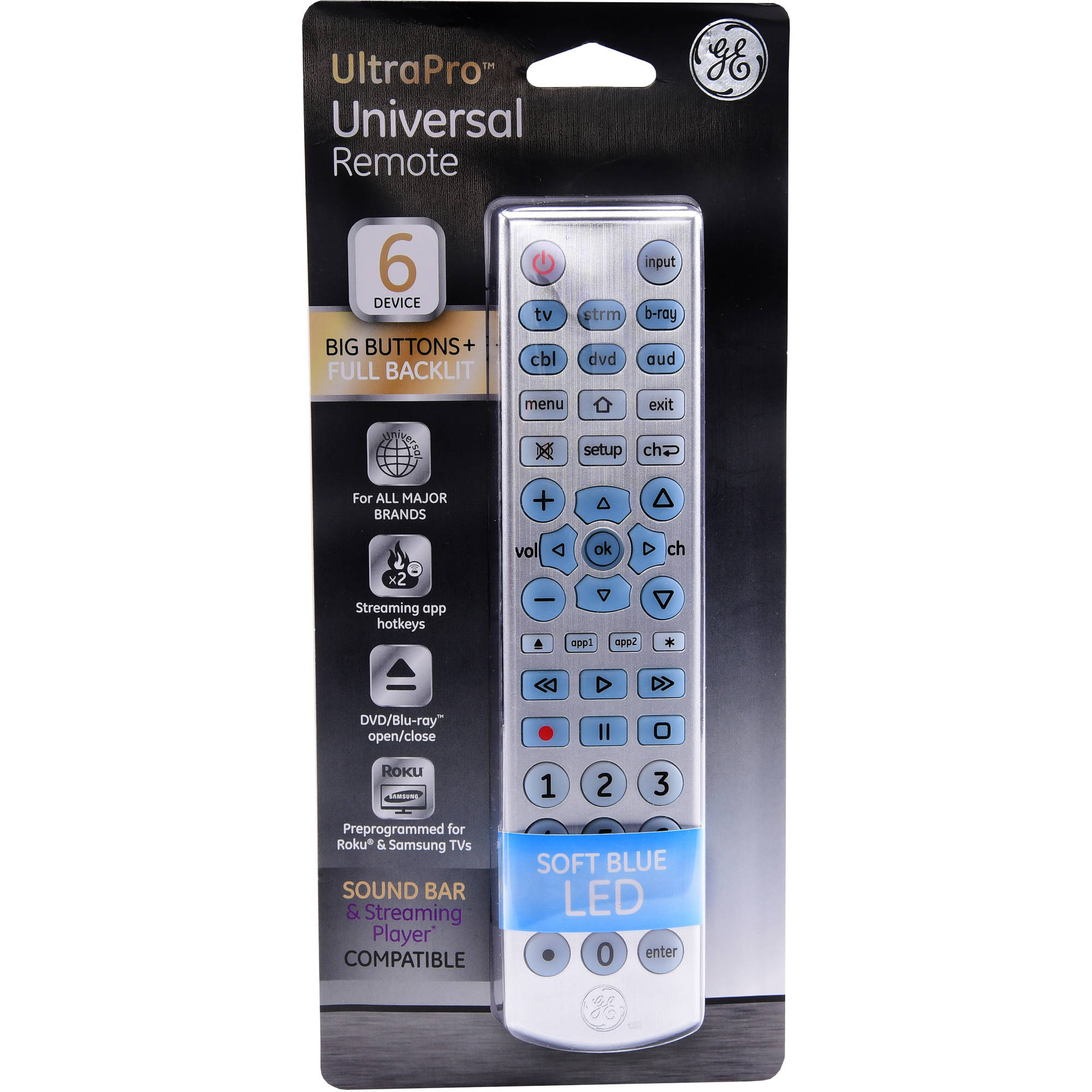 GE Universal Remote Control, 6 Devices, Brushed Silver