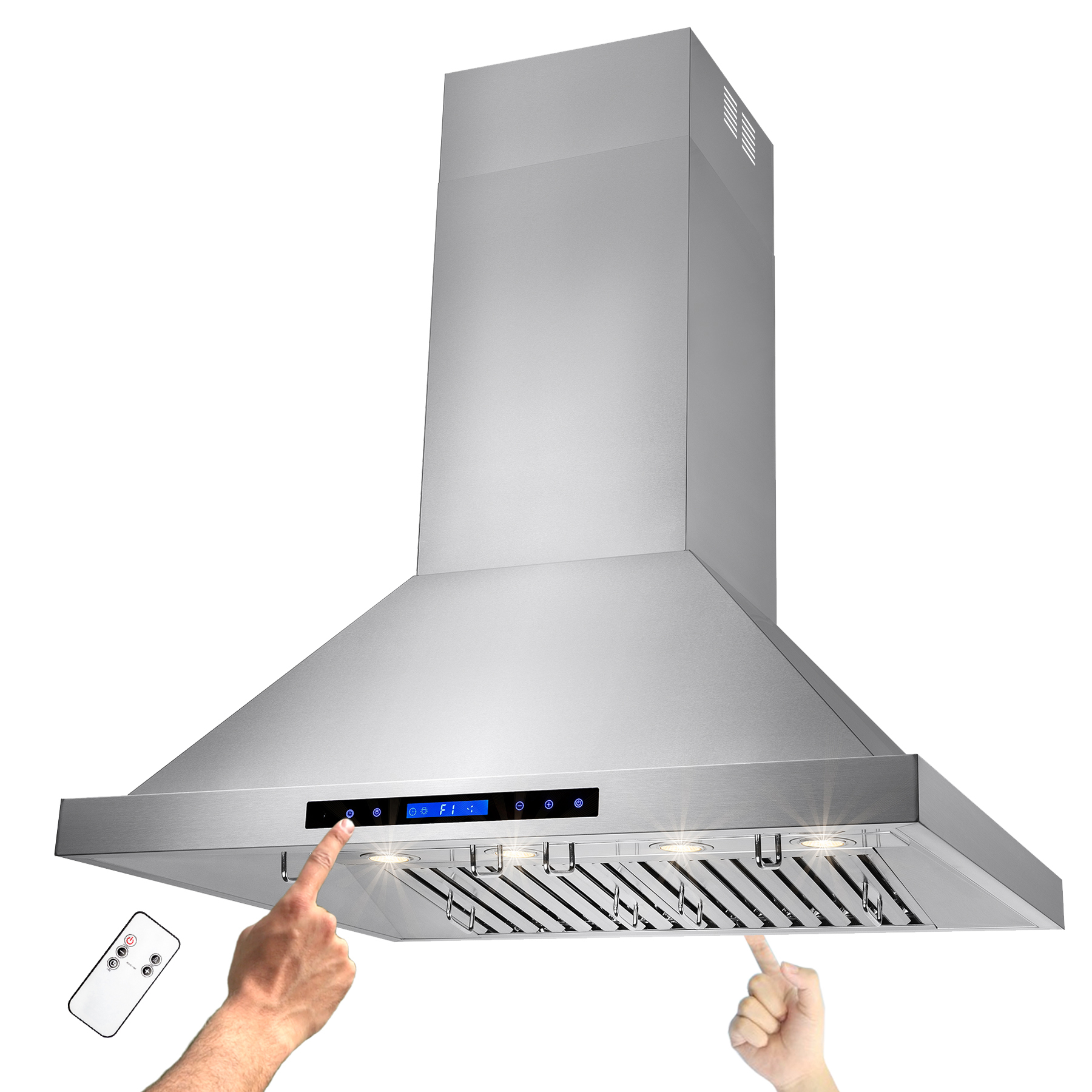 """Image of AKDY 36"""" Stainless Steel Island Mount Range Hood Touch Screen Display Baffle Filter Vent with Remote Control"""