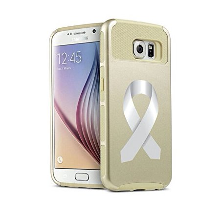 For Samsung Galaxy S7 Shockproof Impact Hard Soft Case Cover Diabetes Brain Cancer Parkinson's Disease Lung Cancer Color Awareness Ribbon (Gold) (Diabetes Awareness Color)