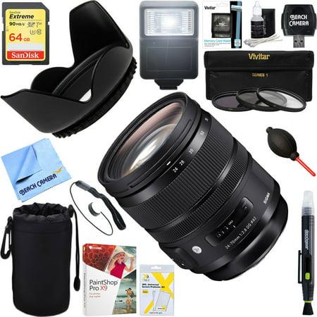 Sigma (576-955) 24-70mm F2.8 DG OS HSM Art Lens for Nikon Mount + 64GB Ultimate Filter & Flash Photography