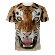 Men's T-Shirt Tiger head 3D Printed Short Sleeve Lovers T-Shirts Plus Size S-3XL