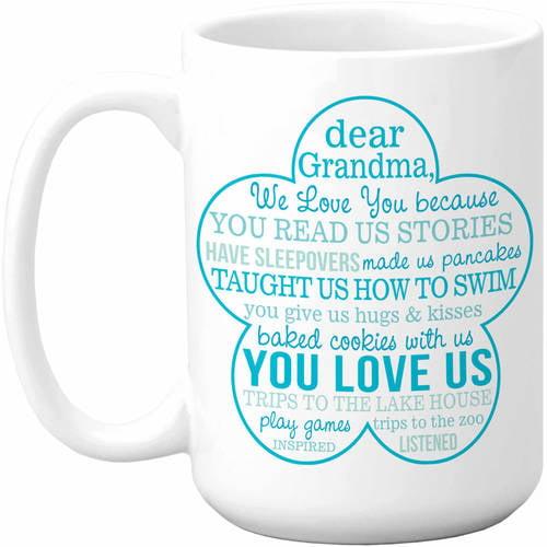 Love You Because 15oz Coffee Mug, Our Grandma, Pink
