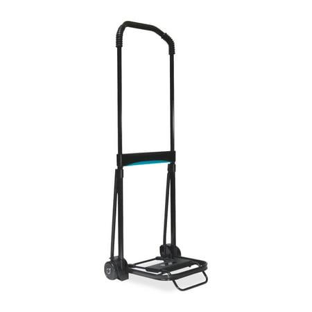 Kantek Ultra-Lite Folding Cart - Telescopic Handle - 110 lb Capacity - Steel, Aluminum - Black