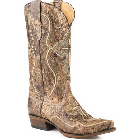Roper Women's Pure Cross And Studs Cowgirl Boot Snip Toe - 09-021-7622-1440
