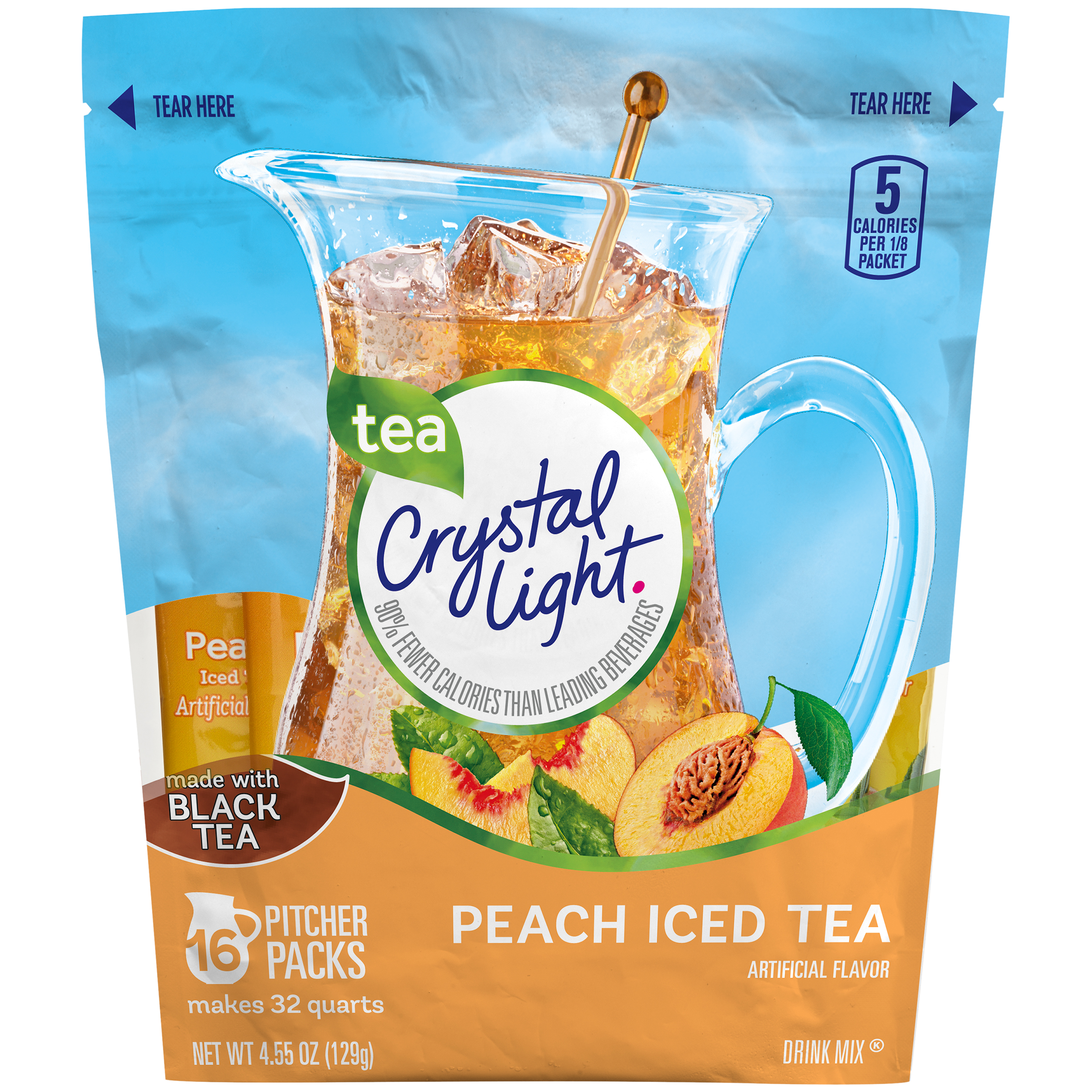 Crystal Light Drink Mix, Peach Tea, 16 Packets