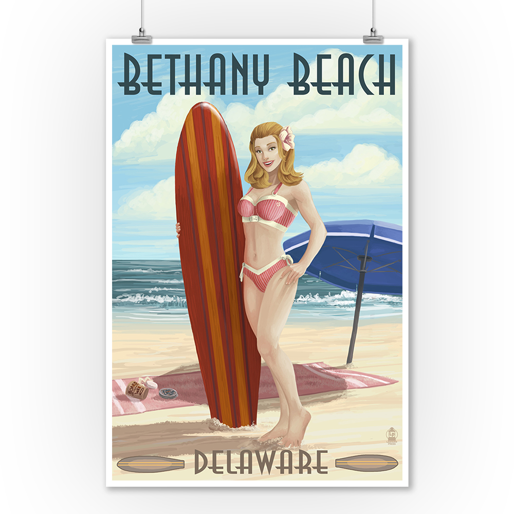 Bethany Beach, Delaware - Surfer Pinup - Lantern Press Poster (9x12 Art Print, Wall Decor Travel Poster)