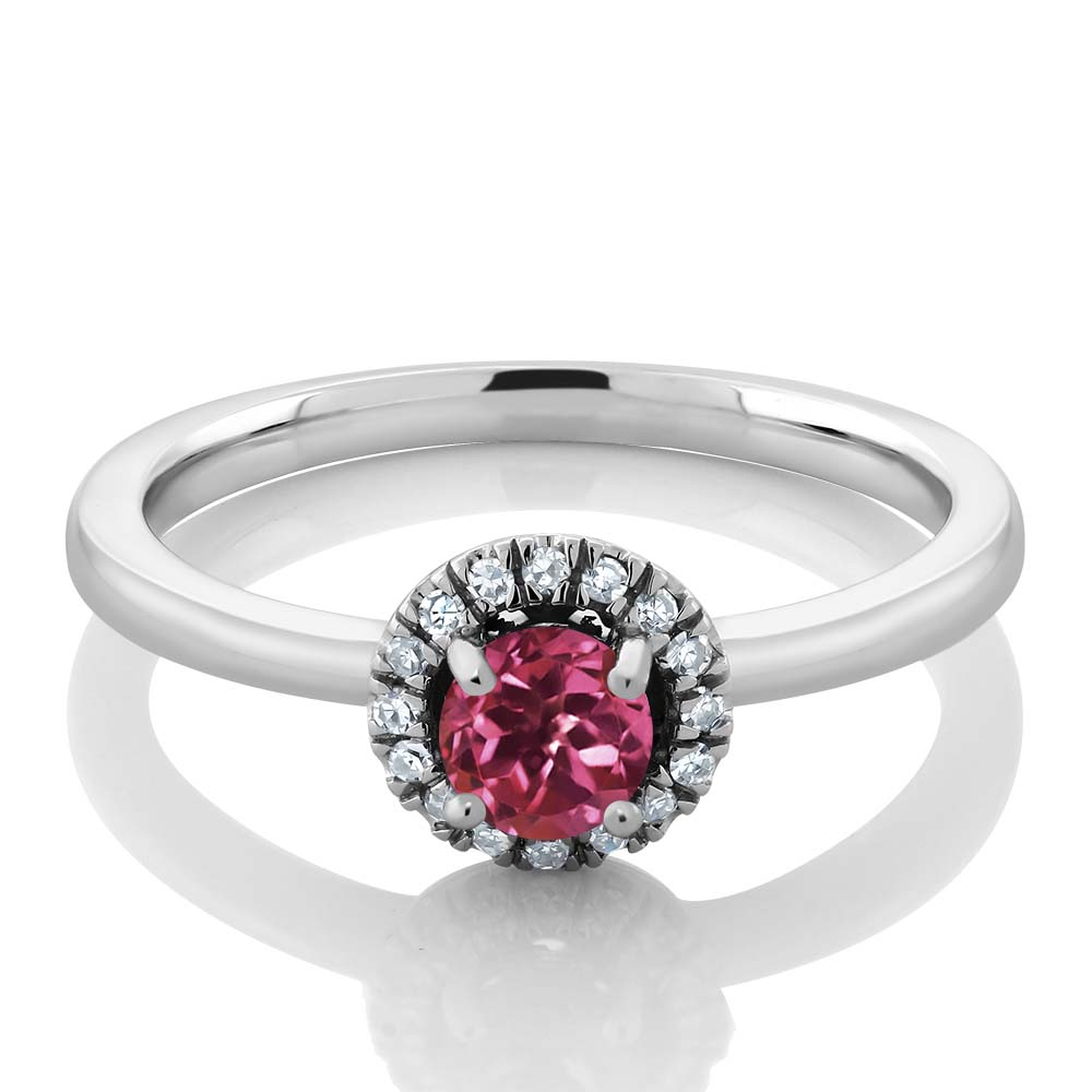 0.32 Ct Round Pink Tourmaline and White Diamond 18K White Gold Ring by