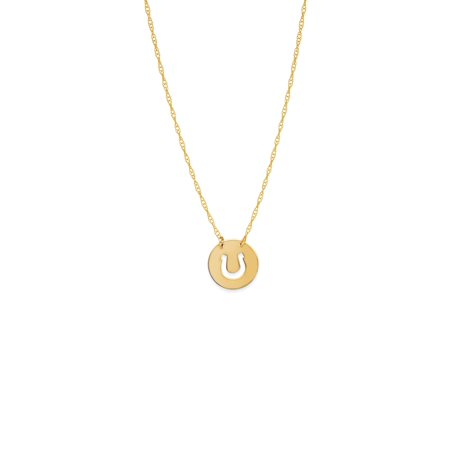 Length Cut Out - 14k Yellow Gold Cut Out Horseshoe Necklace on Rope Chain Adjustable Length - So You