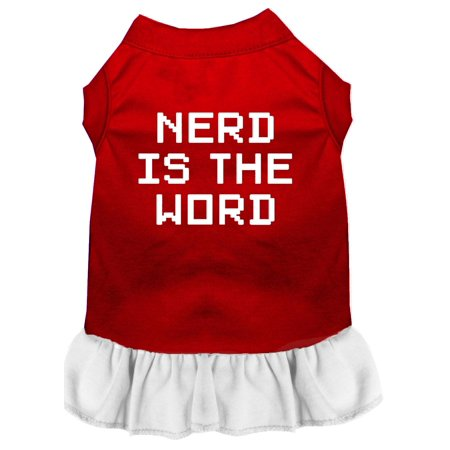 Nerd Is The Word Screen Print Dress Red With White Lg (14)