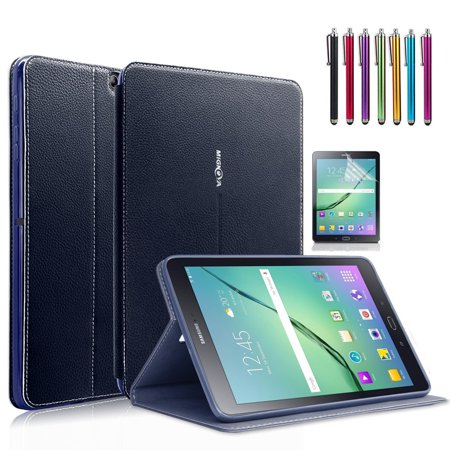 Samsung Galaxy Tab S2 8.0 Case, Mignova - Auto Sleep /Wake, Card Pocket, KickStand Feature, Premium PU Leather Folio Smart Cover Case + Screen Protector Film and stylus pen (Navy