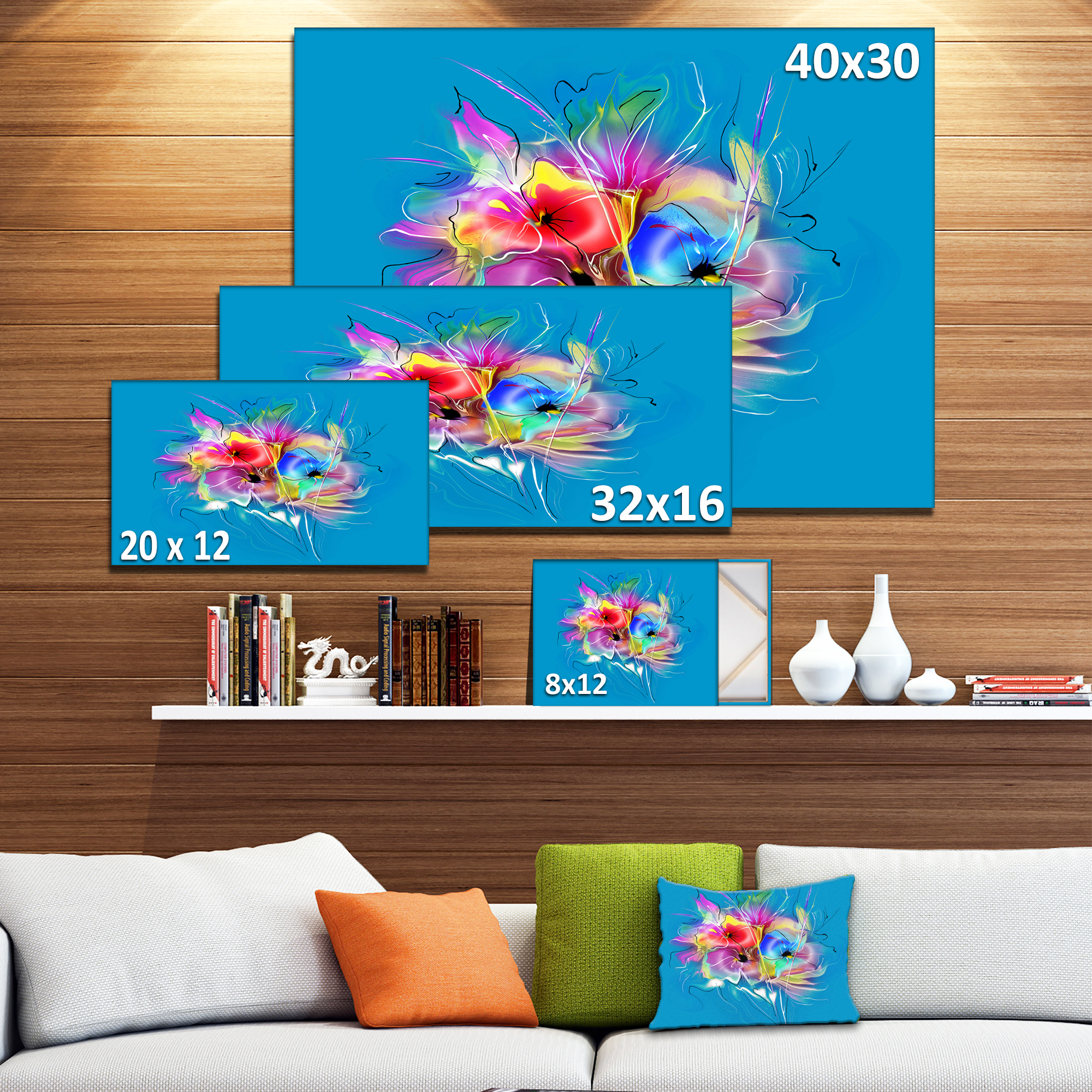 Summer Colorful Flowers on Blue - Extra Large Floral Wall Art - image 2 de 4