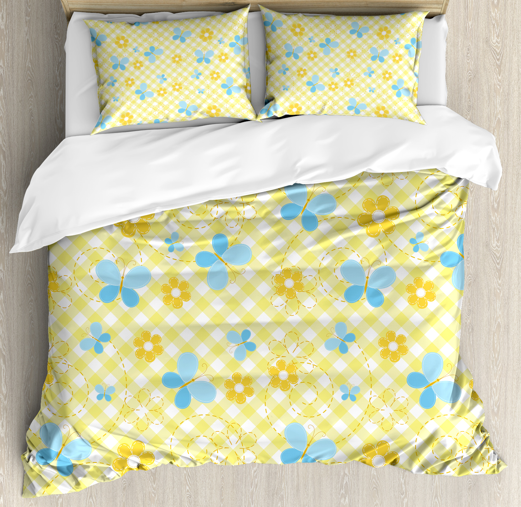 Checkered Queen Size Duvet Cover Set, Kids Pattern with Daisy Flower Figures and Cute Butterflies, Decorative 3 Piece Bedding Set with 2 Pillow Shams, Yellow Baby Blue Pale Blue, by Ambesonne