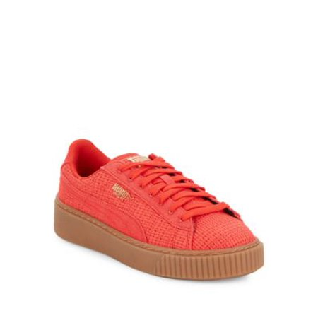 2fc7a7a50fc Puma - Puma Women s Basket Platform Woven High Risk Red   Gold Ankle-High  Fabric Fashion Sneaker - 6.5M - Walmart.com