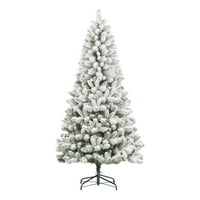 Holiday Time Pre-Lit Flocked Frisco Pine Christmas Tree, 6.5', Clear
