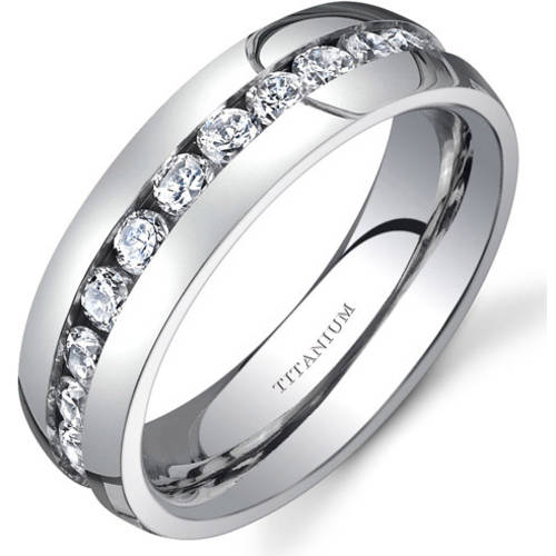 Oravo Women's 6mm Cubic Zirconia Titanium Eternity Wedding Band