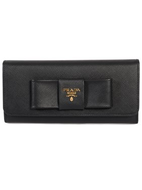 11f952b8b024 Product Image Prada Black Saffiano Leather Flap Wallet With Bow Detail  1MH132 ZTM F0002