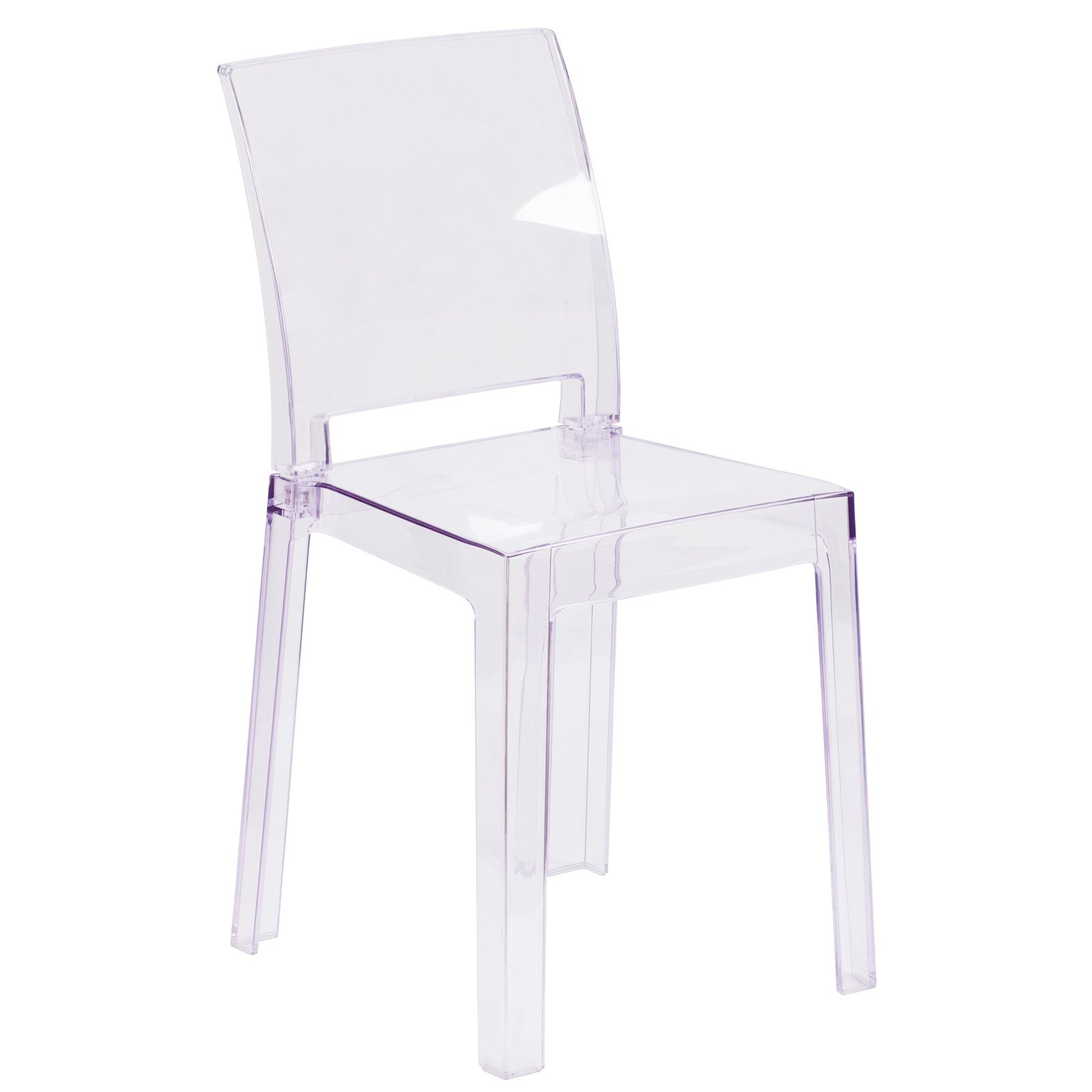 Flash Furniture Ghost Chair in Transparent Crystal with Square Back by Flash Furniture