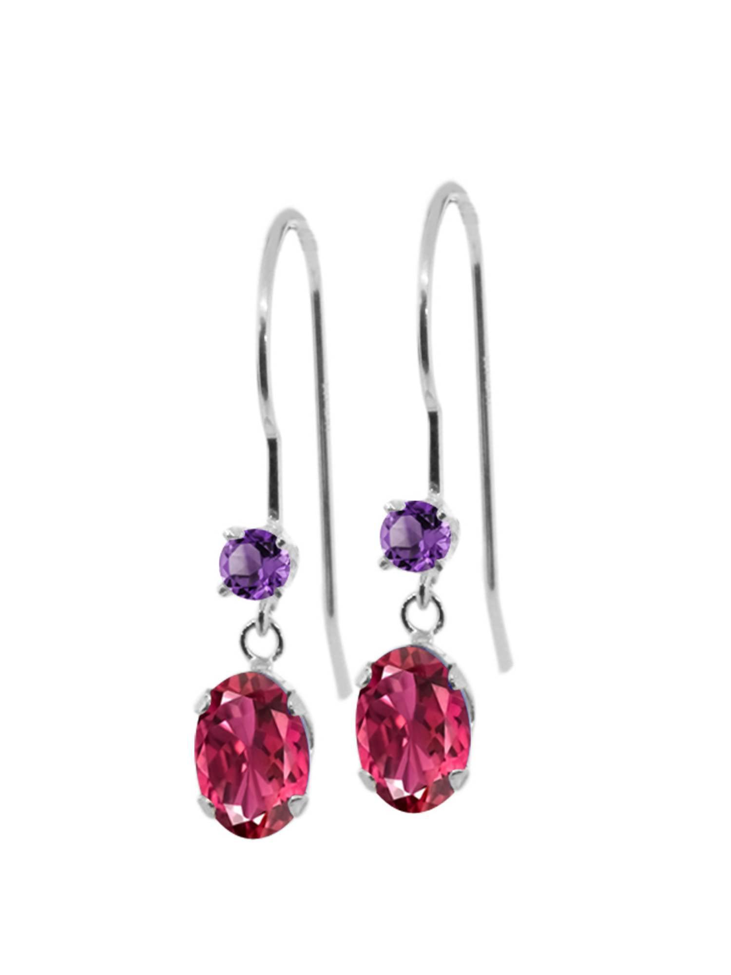 1.12 Ct Oval Pink Tourmaline Purple Amethyst 14K White Gold Earrings by
