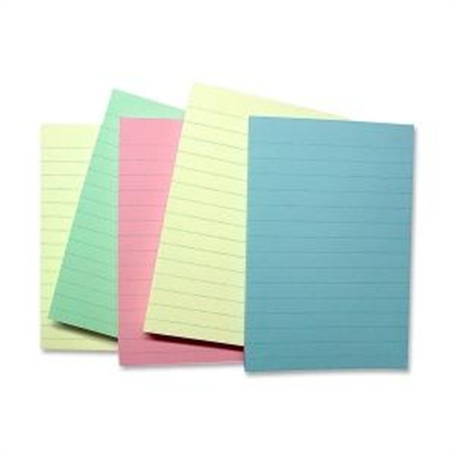 Sparco Products Adhesive Notes, Ruled, 4''x6'', 5/PK, Pastel Colors