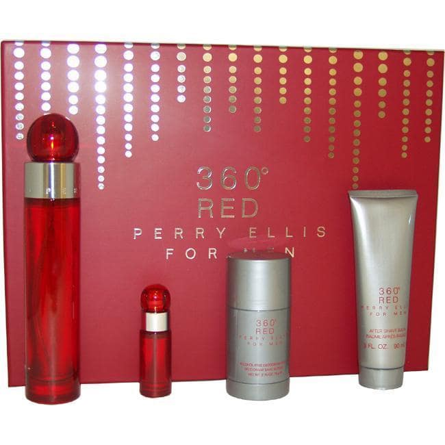 360 Red by Perry Ellis for Men - 4 Pc Gift Set 3. 4oz EDT Spray, 3oz After Shave Balm, 2. 75oz Alcohol Free Deodorant Stic