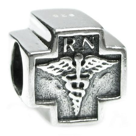 Queenberry Sterling Silver RN Registered Nurse Cross European Style Bead Charm Fits Pandora (Pandora Nurse Charm)