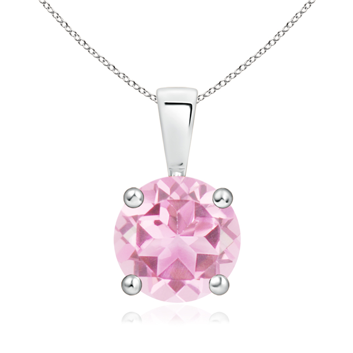 October Birthstone Pendant Necklaces Prong Set Round Pink Tourmaline Solitaire Pendant in 950 Platinum (8mm Pink... by Angara.com