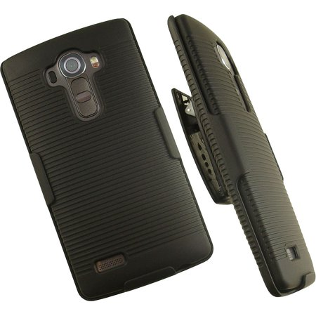 NAKEDCELLPHONE'S BLACK RIBBED RUBBERIZED HARD CASE COVER + BELT CLIP HOLSTER WITH STAND FOR LG G4 PHONE (VERIZON, AT&T, SPRINT, T-MOBILE, US CELLULAR, UNLOCKED) ( F500, H815, LS991, (Best Set With Stands)