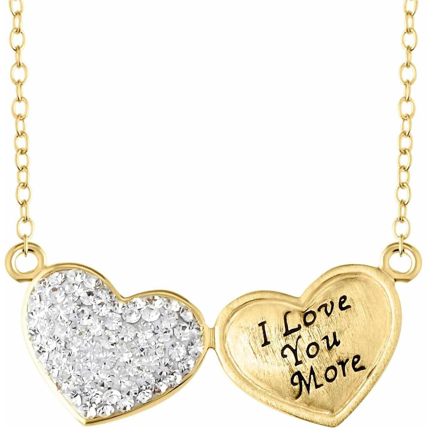 Crystaluxe Engraved Double Heart Necklace With Swarovski Crystals In 18kt  Gold Plated Sterling Silver   Walmart.com