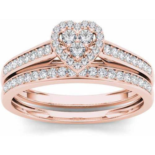 Imperial 1 2 Carat T.W. Diamond Heart-Frame 10kt Rose Gold Engagement Ring Set by Imperial Jewels