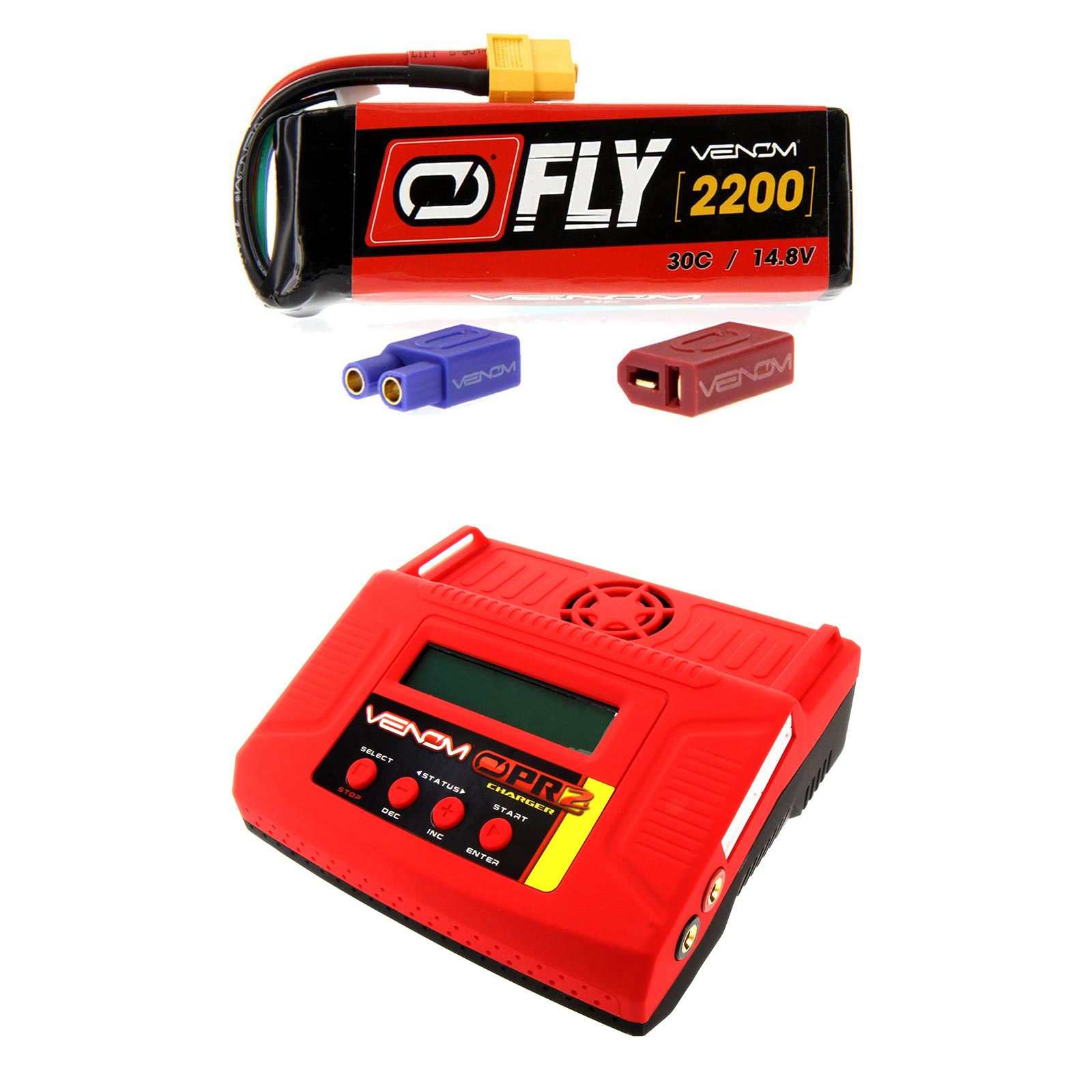 Venom Fly 30C 4S 2200mAh 14.8V LiPo Battery with UNI 2.0 Plug and Venom Pro 2 LiPo Battery & NiMH Battery Charger Money... by Venom