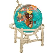 Alexander Kalifano GNT110G-CPR 4 inch Gemstone Globe with Gold Colored Nautical 3-Leg Stand - Copper Amber