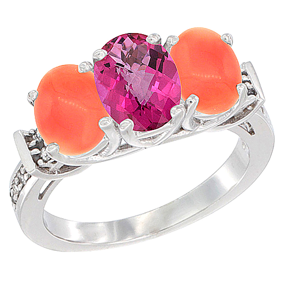 10K White Gold Natural Pink Topaz & Coral Sides Ring 3-Stone Oval Diamond Accent, sizes 5 10 by WorldJewels