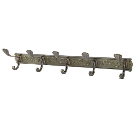 Uxcell Door Wall Vine Print 5 Hooks Bath Towel Coat Hanging hooks Rack Holder Bronze Tone ()