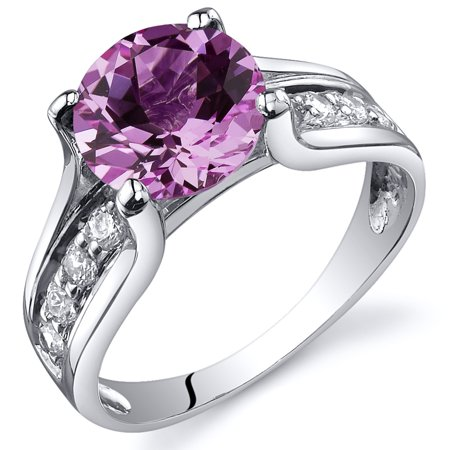 2.75 Ct Created Pink Sapphire Solitaire Ring in Rhodium-Plated Sterling Silver
