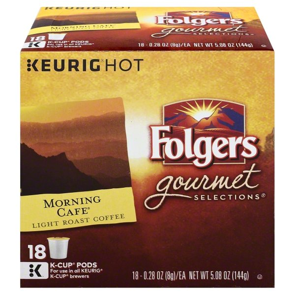 FOLGERS 5.08 OUNCE GROUND GOURMET SELECTIONS MORNING CAFE 18 COUNT KEURIG CUP