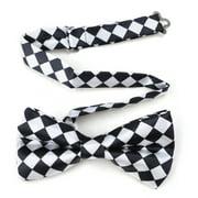 TopTie Mens Black & White Checkerboard Pre-Tied Satin Formal Bow Tie