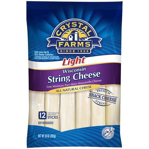 Crystal Farms Light Wisconsin String Cheese, 12 count, 10 oz