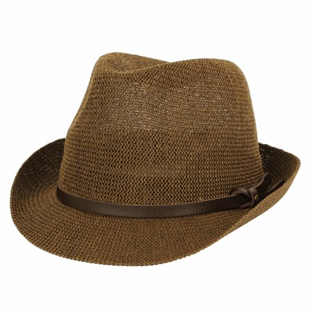 WITHMOONS Fedora Hat Summer Cool Paper Straw Trilby Band For Men SL61057 (Brown) - White And Black Fedora