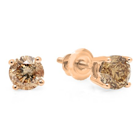 Dazzlingrock Collection 0.50 Carat (ctw) 14K Round Cut Champagne Diamond Ladies Stud Earrings 1/2 CT, Rose - Gold Champagne Diamond Earrings